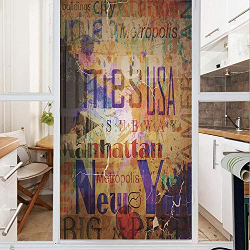 Decorative Window Film,No Glue Frosted Privacy Film,Stained Glass Door Film,Grunge Style Complex Artsy Montage of NYC Letters on Magazine Cover Popular Brooklyn Borough Life,for Home & Office,23.6In.