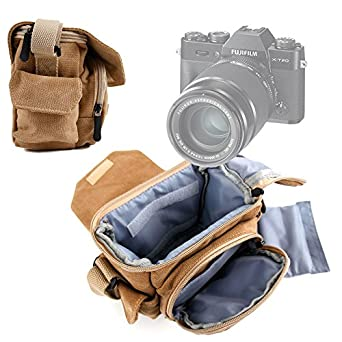 b6df559775ae DURAGADGET Light Brown Medium Sized Canvas Carry Bag with Multiple Pockets  & Customizable Interior - Suitable for The Fujifilm X-T20 Camera