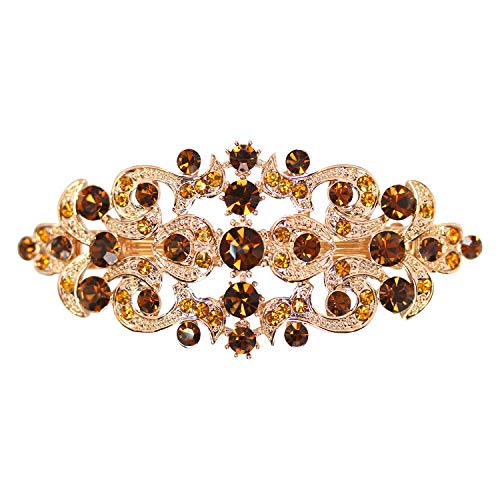 (Faship Gorgeous Smoked Topaz Color Rhinestone Crystal Floral Hair Barrette Clip - Smoked Topaz )