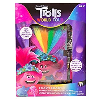 Trolls World Tour Fuzzy Diary by Horizon Group USA, Create, Personalize & Decorate Using Puffy Stickers, Colorful Marker & More. Keep Your Secrets Safe Under Lock & Key.