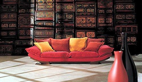 Calia Maddalena–Sofa Zeitgenössisch Villa und Sevilla Leder geschliffen Villa 3 posti - 230x94x85 cm Pelle Smerigliata Bordo Scuro