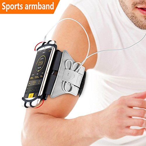 Sports Armband, 180° Rotatable Workout Cellphone Armband Phone Holder for Running Jogging, Cell Phone Running Armband for 4-6 Phone, iPhone 8 7 6s Plus, Samsung Galaxy S8 S7 S6 (Silver) ()