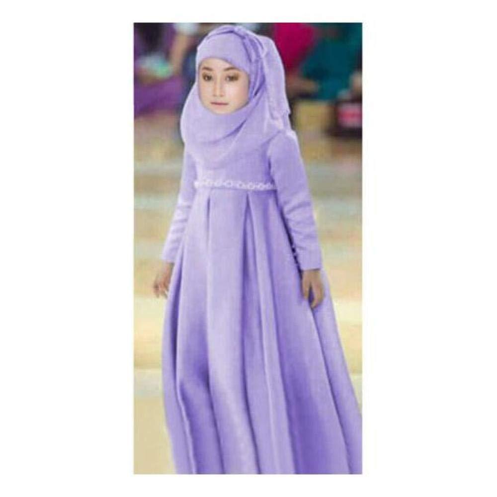 FidgetGear 3Pcs Muslim Girls Kids Maxi Dressand Hijab Scarf and Bow Set Kaftan Abaya Party