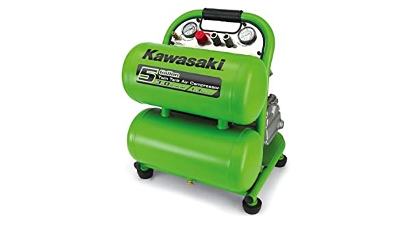 Kawasaki 840703 5-Gallon 3HP Twin Tank Air Compressor - Stacked Tank Air Compressors - Amazon.com