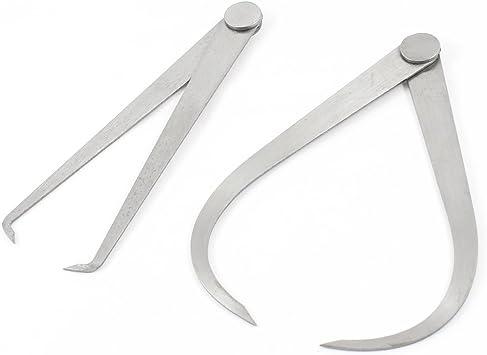2pcs Machinist Calipers Firm Friction Joint External Internal Caliper Tool LxWxH 5.20x25.00x0.95cm//2.05x9.84x0.37inch