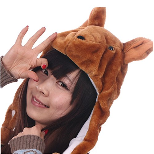 Kangaroo Hat Costume (JOYHY Unisex Winter Plush Ear Flap Animal Hats Kangaroo)