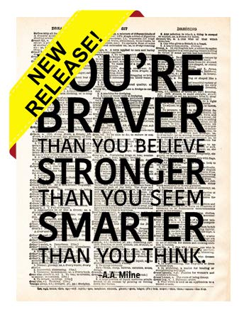 - You're Braver Than You Believe Vintage Dictionary Page Print Kids Poster Upcycled Antique Old Inspirational Motivational Home Wall Famous Quote Art Decor Gift Teens Minimalist Office Dorm Gym (8x10)