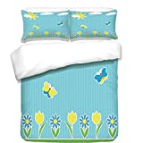 iPrint 3Pcs Duvet Cover Set,Yellow and Blue,Kids Nursery Theme Landscape with Flower Butterfly Sunny Sky Decorative,Light Blue Green Yellow,Best Bedding Gifts for Family/Friends