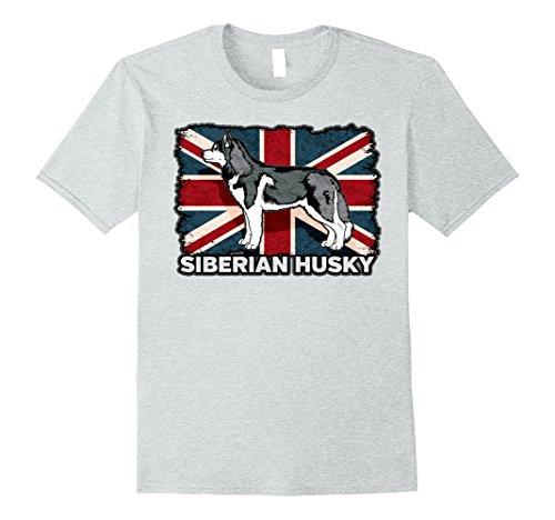 Mens Siberian Husky Dog UK Flag T-shirt Large Heather Grey