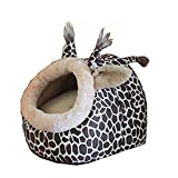 Winterworm Cute Cartoon Soft Warm Short Plush Washable and Detachable Animal Shape Pet Dog Bed House kennel With Pad (Giraffe, L)