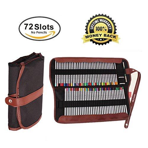 Canvas Pencil Wrap,72 Pencil Holder Colored Pencils Case Roll Multi-purpose Pouch for School Office Art. Soft Pencil Bag for Travel