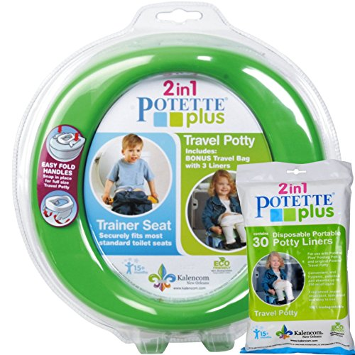 green-potette-plus-port-a-potty-training-potty-travel-toilet-seat-2-in-1-bundle-with-potette-plus-li