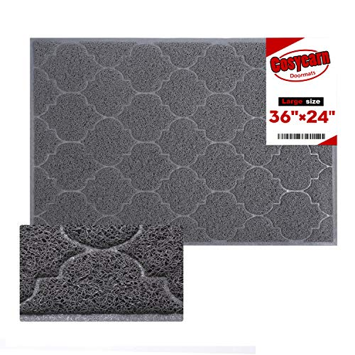 Front Door Mat,Inside or Outside Entryway Front Door Welcome Mat,Large Size 36x24 Inches Boot Scraper,Easy to Clean,Phthalate and BPA Free,Waterproof,Non Slip,Durable,Catches Dust and Snow.(Grey)