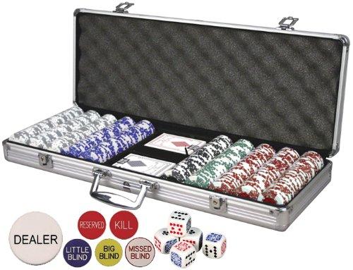 Da Vinci Premium Set Poker Set with Card-Suited Poker Chips, 6 Dealer Buttons, Cards, & Dice