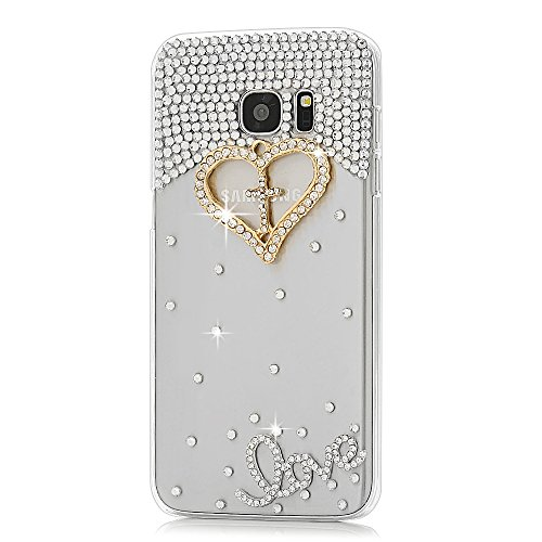 Galaxy S7 Edge Case (NOT for S7) - Mavis's Diary 3D Handmade Bling Crystal Golden Love Heart Cross with Shiny Diamonds Gems Clear Cover Hard PC Case for Samsung Galaxy S7 Edge