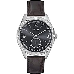 GUESS W0873G1,Men's Dress Sport,Leather Strap,Stainless Steel Case,30m WR