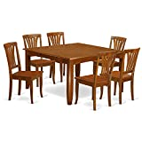 East West Furniture PFAV7-SBR-W 7 Pc Dining Room Set-Square Table with Leaf and 6 Dining Chairs.