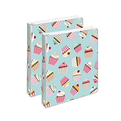 (COMIX 2 Pack Letter Size, Heavy Duty Premium Designer 3 Round Ring Binder 1 Inch, Back to School/Campus (A2134) (Cupcake Dream))
