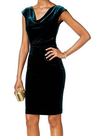 e660bb74b4e9 Jessica Howard Womens Velvet Cowl Neck Party Dress Green 16 at Amazon Women's  Clothing store: