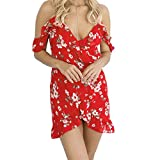 Diamondo Wome Bandage Dress, Lady European Fashion Print Off Shoulder Bandage Dress (Asian XL)