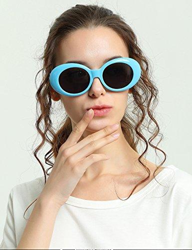 Bleu Rétro Bonbons Femmes pour Hommes de Soleil Lunettes Rocf de Kurt Lunettes Protection Cobain Shades Clout Couleur Ovale Rond Lunettes Rossini de de Soleil UV400 Sxwq4g6