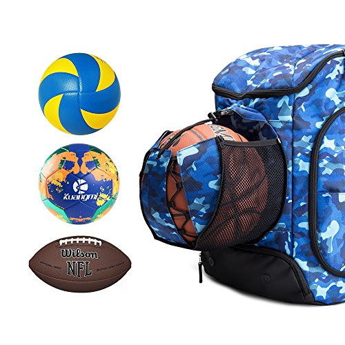 abb5d17ef396 Kuangmi Basketball Backpack Ball Pocket All Sports Gym Travel Bag for  Basketball