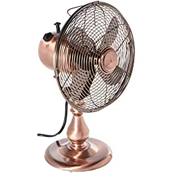 DecoBREEZE Oscillating Table Fan 3 Speed Air Circulator Fan, 10 In, Brushed Copper