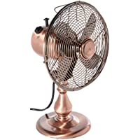 DecoBREEZE Oscillating Table Fan 3-Speed Air Circulator Fan, 10-Inch, Brushed Copper