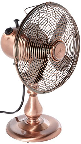 DecoBREEZE Oscillating Table Fan 3 Speed Air Circulator Fan, 10 In, Brushed Copper ()