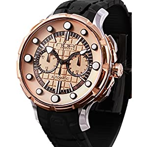 Noa Mammoth OroNero Steel/Gold Swiss Automatic Chronograph Black Silicone Watch