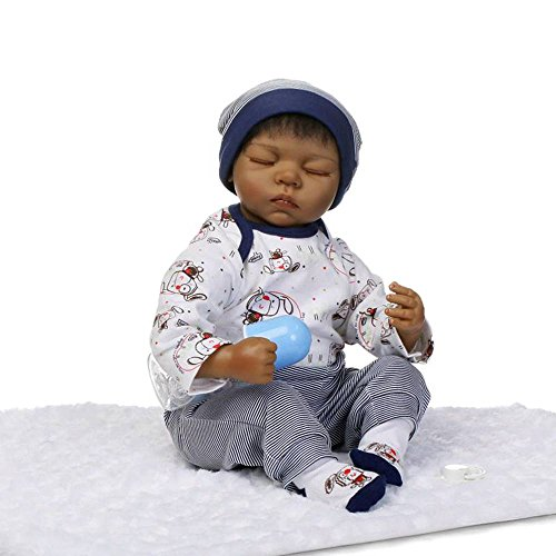 Justtoyou Soft Silicone African American doll Reborn Baby Doll That Look Real 22 (Cabbage Patch Baby Costume)