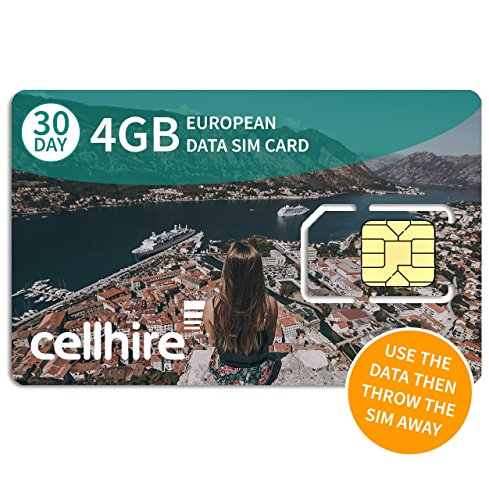 Cellhire Prepaid 4G Europe Data SIM Card – Europe 4GB Bundle – 29 countries – 3-in-1 SIM