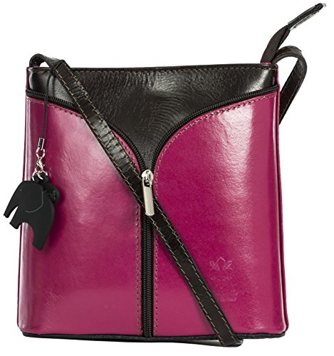 Pink Cross Branded Mini and Protective Alice Charm Body Italian Trim Storage a LIATALIA Shoulder Bag Brown Bag Leather with w4azqdFt