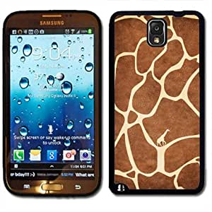 Samsung Galaxy Note 3 Black Rubber Silicone Case - Giraffe Animal Print Fur with Little Giraffe inside Cute