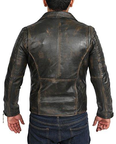 Veste Moto Pour Homme Doux Se Frotter De Cuir Slim Fit Longueur De Taille Diagonale X-Zip Lavé Manteau - Floyd