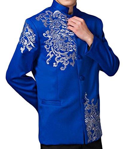 Abetteric Men Mandarin Collar Embroidered Stylish Blazer Jacket Suits Blue XL - Embroidered Mandarin Collar Jacket