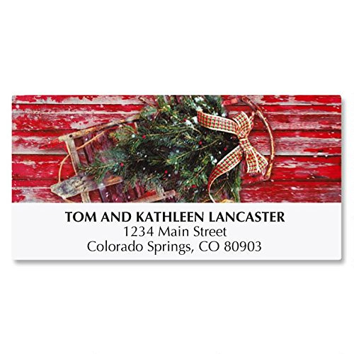 Vintage Holiday Personalized Christmas Address Labels - Set of 48, self-stick