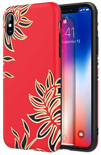 (For iPhone X Case / iPhone 10 Case - MoKo Slim Fit Cover Soft TPU Bumper Pattern Shell Flexible Shock-absorbing Back Panel for Apple iPhone X 2017 - Red Lotus)