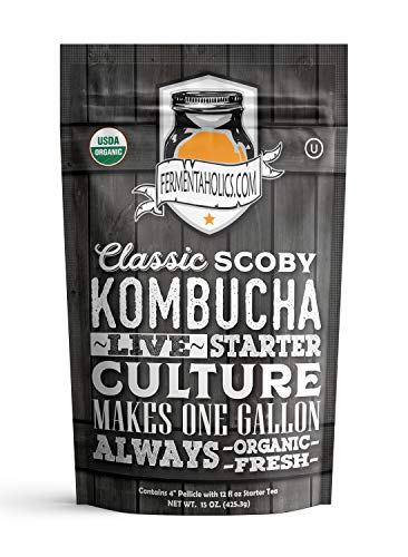 Fermentaholics ORGANIC Kombucha SCOBY With Twelve Ounces of Starter Tea | Live Starter Culture | Makes One Gallon Batch | One and a Half Cups of Starter Tea
