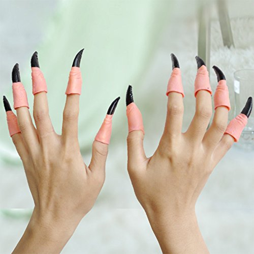 Pcongreat Pcongreat New Halloween Makeup Props Special Festival Offers 10Pcs Fake Fingers Witch Vampire Nail Covers Set Halloween Prop Party Fancy Dress Random Color