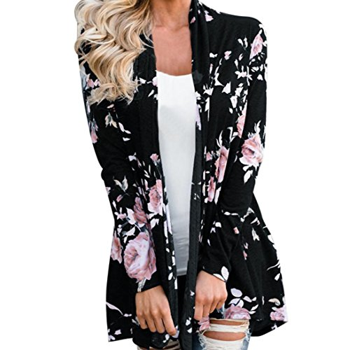 DaySeventh Lady Women's Fall Long Sleeve Floral Print Kimono Cardigan Blouse (L, Type 2 Black) from DaySeventh