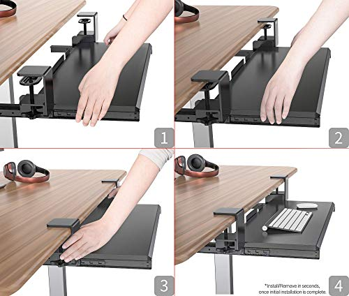 Clamp On Keyboard Tray Office Under Desk Ergonomic Desks Wood Clamps Wrist Rest Pad Mouse Drawer Slides Computer Shelf Table Desktop Extender Pull Out Workstation Platform Large Surface 26 inch by Defy Desk (Image #1)