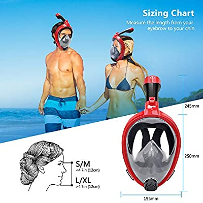 HENGBIRD Full Face Snorkel Mask, New Foldable 180 Panoramic View Free Breath Snorkeling Scuba Mask with Detachable Camera Mount for Adults & Kids, Anti-Fog, Anti-Leak, Adjustable Head Straps