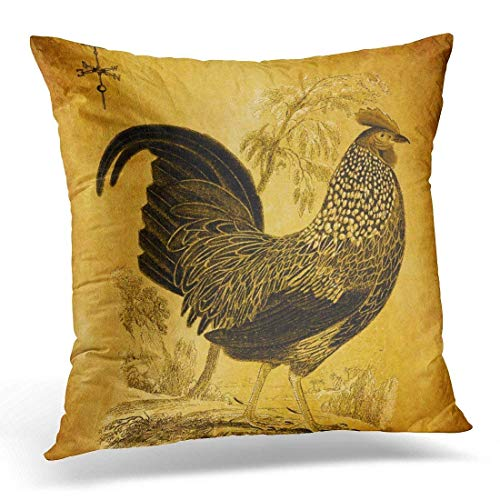 LMHB Throw Pillow Cover Weathervane Thanksgiving Vintage Fall Autumn Yellows Browns Decorative Pillow Case Home Decor Square 18 x 18 Inch Pillowcase