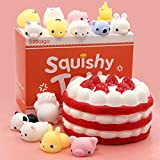 Toys : Satkago Mochi Squishy Toys Squishies Slow Rising, Strawberry Cake Slow Rising Squishy + 14 Pcs Mini Mochi Squishys Toys Kawaii Squishies Stress Reliever Anxiety Toys For Children Adults
