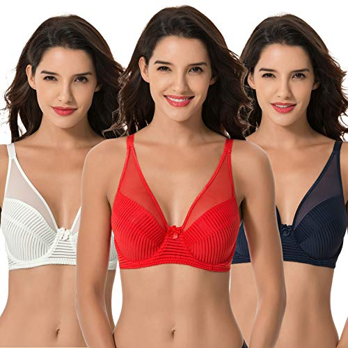 Curve Muse Women's Plus Size Minimizer Unlined Underwire Full Coverage Bra-3PK-NAVY,RED,LT GREEN-38D