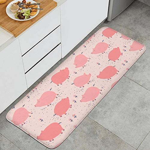 Kitchen Mat Rugs Cushioned Chef Soft Non-Slip Rubber Back Floor Mats Washable Oil Proof Doormat Bathroom Runner Area Rug Carpet (17.7
