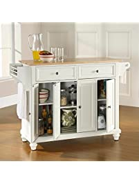 Crosley Furniture Cambridge Kitchen Island With Natural Wood Top White