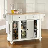 White Kitchen Island Cart Crosley Furniture Cambridge Natural Wood Top Kitchen Island, White