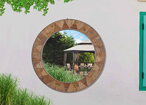 Sunjoy Recycled Fir Wood Wide Border Round Mirror, Brown
